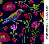 embroidered flowers and birds.... | Shutterstock .eps vector #622215554