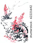 flower painting .traditional...   Shutterstock . vector #62221642