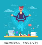 businessman doing yoga to calm... | Shutterstock .eps vector #622217744