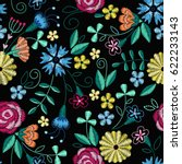 embroidery seamless pattern... | Shutterstock .eps vector #622233143