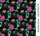 embroidery seamless pattern... | Shutterstock .eps vector #622233170
