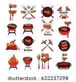 barbecue icons   Shutterstock .eps vector #622237298