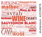 wine varietals types word cloud ... | Shutterstock .eps vector #622238078