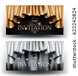 gold and silver vip invitation... | Shutterstock .eps vector #622242824
