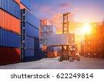 forklift handling container box ... | Shutterstock . vector #622249814
