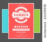 retro summer party design... | Shutterstock .eps vector #622250558