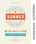retro summer party design... | Shutterstock .eps vector #622250564