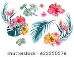 Stock vector tropical flowers palm leaves jungle leaf bird of paradise flower hibiscus vector exotic 622250576