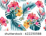 Beautiful seamless vector floral pattern, spring summer background with tropical flowers, palm leaves, jungle leaf, hibiscus, bird of paradise flower. Exotic wallpaper, Hawaiian style | Shutterstock vector #622250588