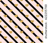 gold heart seamless pattern.... | Shutterstock .eps vector #622255700