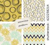 set of 4 vintage seamless...   Shutterstock .eps vector #622258214
