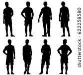 Set Black Silhouette Man...