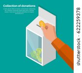the hand lowers a coin in a box ... | Shutterstock .eps vector #622259378