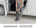 injured woman wearing sport... | Shutterstock . vector #622261103