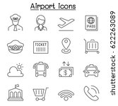 airport icon set in thin line... | Shutterstock .eps vector #622263089
