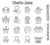 charity   donation icon set in... | Shutterstock .eps vector #622264358