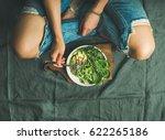 green vegan breakfast meal in... | Shutterstock . vector #622265186