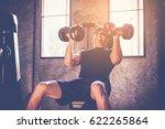 portrait of a male muscular... | Shutterstock . vector #622265864