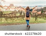 woman tourist in a coat with a... | Shutterstock . vector #622278620