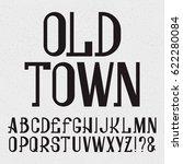 retro style font. black capital ... | Shutterstock .eps vector #622280084