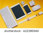 top view of digital tablet and... | Shutterstock . vector #622280360