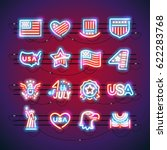 set of fourth of july neon...   Shutterstock .eps vector #622283768