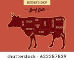 butcher shop's beef cut... | Shutterstock .eps vector #622287839