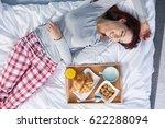 breakfast  in bed.  beautiful... | Shutterstock . vector #622288094