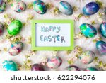 happy easter card with painted... | Shutterstock . vector #622294076