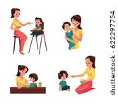 set of mother feeding her baby  ... | Shutterstock .eps vector #622297754
