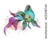 beautiful marine fish. goldfish.... | Shutterstock .eps vector #622298744
