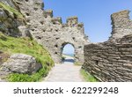 Small photo of Part of the ancient ruins of Tintagel Castle in Cornwall, England.