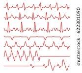 line vector cardiograms or... | Shutterstock .eps vector #622301090