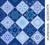blue tile seamless pattern.... | Shutterstock .eps vector #622301474