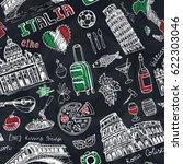 italy landmark food seamless... | Shutterstock .eps vector #622303046