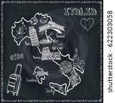 italy map  famous landmark... | Shutterstock .eps vector #622303058