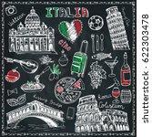 italy landmark food set.vintage ... | Shutterstock .eps vector #622303478