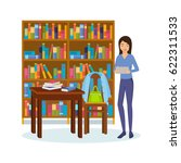 library and bookstore with... | Shutterstock .eps vector #622311533