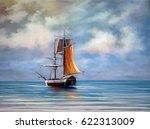 Ship  Sea. Landscape. Oil...