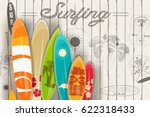 surfing poster in vintage style ...   Shutterstock .eps vector #622318433
