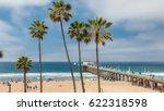palm trees on manhattan beach... | Shutterstock . vector #622318598