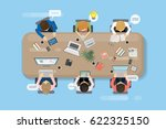 office table with team and... | Shutterstock .eps vector #622325150