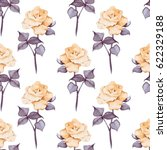 hand drawn watercolor floral... | Shutterstock . vector #622329188