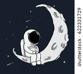 cute astronaut sits on crescent ... | Shutterstock .eps vector #622331729