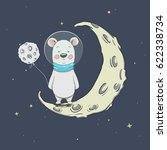 astronaut bear on crescent moon ... | Shutterstock .eps vector #622338734