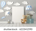 mock up blank poster on wall of ...   Shutterstock . vector #622341590