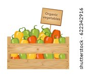 wooden box of bell peppers....   Shutterstock .eps vector #622342916
