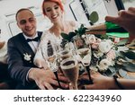hands with glasses of champagne ... | Shutterstock . vector #622343960