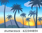 landscape with palm trees... | Shutterstock .eps vector #622344854