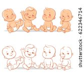 cute little babies in diaper... | Shutterstock .eps vector #622346714